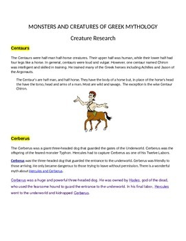 Greek Mythological Creatures Research and Writing Project--Common Core