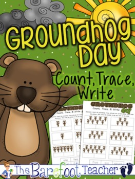 Groundhog Day Math - Count, Trace, & Write Cut/Paste Activity