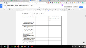 """Common Core Guided Reading Questions/Key """"To Build a Fire"""""""