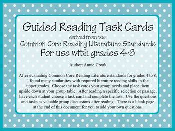 Common Core Guided Reading Task Cards: POLKA DOTS (grades 4-8)