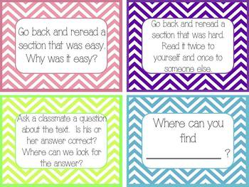Common Core Guided Reading Task Cards: CHEVRON (grades 2-4)