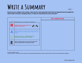 Common Core Guided Reading Template