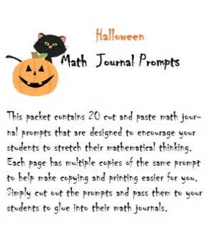 Common Core Halloween Math Journal Prompts