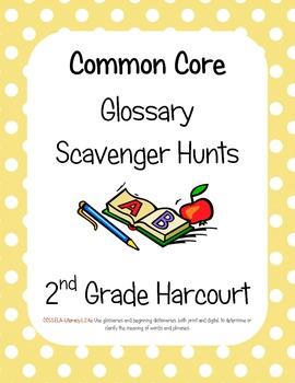 Common Core Harcourt Banner Days: Neighborhood News Glossary Scavenger hunts