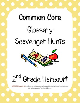 Common Core Harcourt Banner Days Theme 3: Travel Time Glossary Scavenger hunts