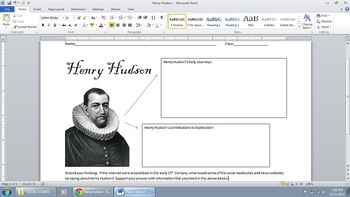 Common Core Henry Hudson Research Graphic Organizer