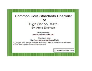 Common Core High School Math Standards Checklist
