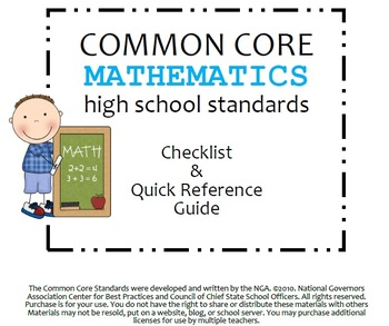 Common Core High School Math Standards Checklist & Quick Reference Guide
