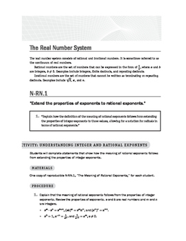Common Core High School Number and Quantity Math Lessons