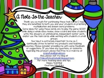 Common Core: Holiday Theme Multiplication and Division Word Problem Task Cards