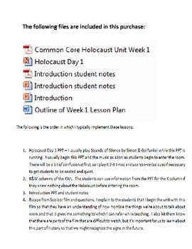 Common Core Holocaust Unit Week 1 Introduction