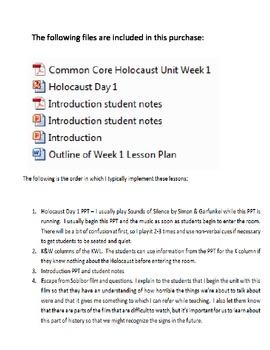 Common Core Holocaust Unit Week 1 Introduction