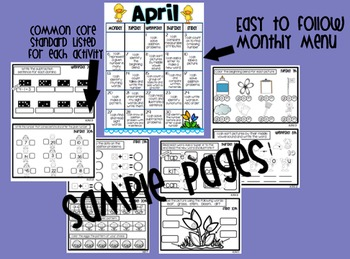 Common Core Homework Packet for April