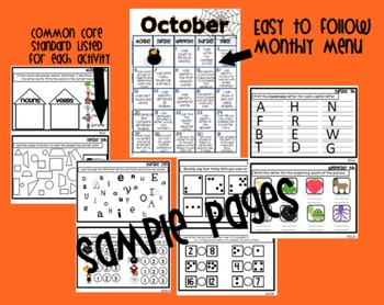 Common Core Homework Packet for October