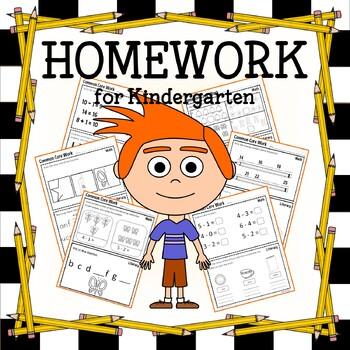 Homework for Kindergarten Common Core