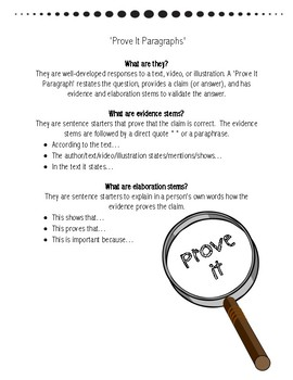 Common Core: How to Write a 'Prove It Paragraph'