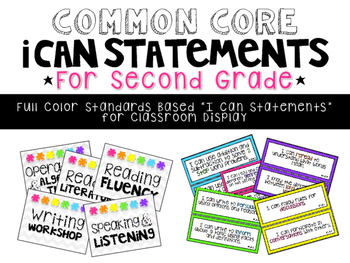 {NEW!} Common Core I CAN Statements - Grade 2