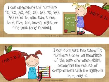 """Common Core """"I Can"""" Cards 1st Grade Math Apple Theme"""