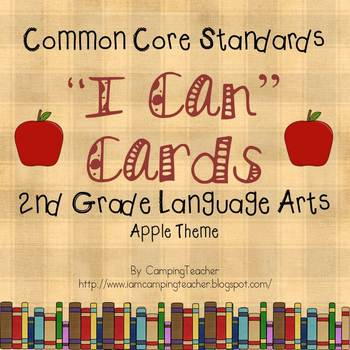 "Common Core ""I Can"" Cards 2nd Grade Language Arts Apple Theme"