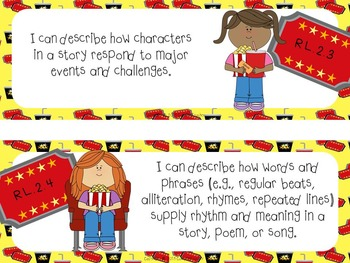 """Common Core """"I Can"""" Cards 2nd Grade Language Arts Movie Theme"""