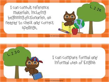"""Common Core """"I Can"""" Cards 2nd Grade Language Arts Owl Theme"""