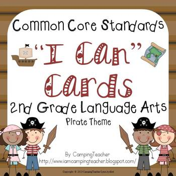 """Common Core """"I Can"""" Cards 2nd Grade Language Arts Pirate Theme"""