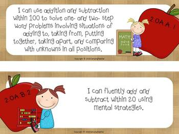 """Common Core """"I Can"""" Cards 2nd Grade Math Apple Theme"""