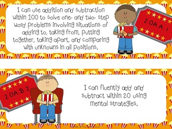 """Common Core """"I Can"""" Cards 2nd Grade Math Movie Theme"""