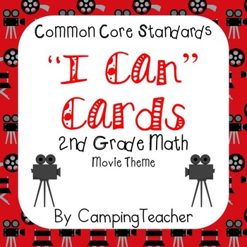 "Common Core ""I Can"" Cards 2nd Grade Math Movie Theme"