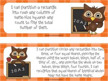 "Common Core ""I Can"" Cards 2nd Grade Math Owl Theme"