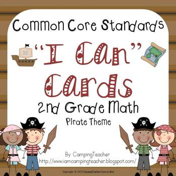 "Common Core ""I Can"" Cards 2nd Grade Math Pirate Theme"