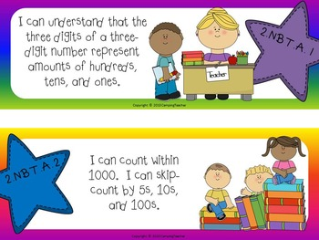 """Common Core """"I Can"""" Cards 2nd Grade Math Stars and Rainbow Theme"""