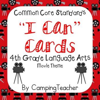 "Common Core ""I Can"" Cards 4th Grade Language Arts Movie Theme"
