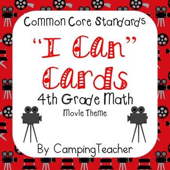 "Common Core ""I Can"" Cards 4th Grade Math Movie Theme"