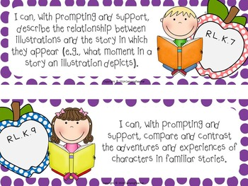 "Common Core ""I Can"" Cards Kindergarten Language Arts Polka Dot Theme"