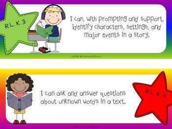 "Common Core ""I Can"" Cards Kindergarten Language Arts Stars and Rainbow Theme"