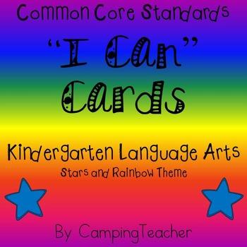 "Common Core ""I Can"" Cards Kindergarten Language Arts Stars"