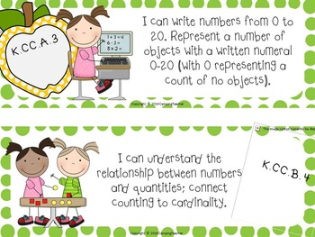 "Common Core ""I Can"" Cards Kindergarten Math Polka Dot Theme"