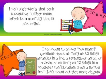"Common Core ""I Can"" Cards Kindergarten Math Stars and Rainbow Theme"