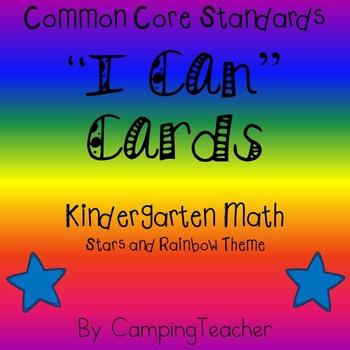 "Common Core ""I Can"" Cards Kindergarten Math Stars and Rain"