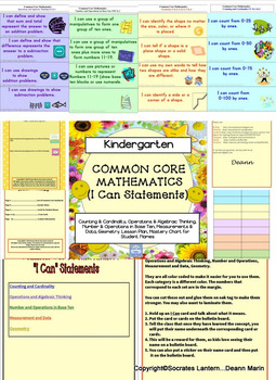 """Common Core, """"I Can,"""" Cards Mathematics for Kindergarten"""