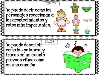 "Common Core ""I Can"" Language Arts Posters in Spanish for 2nd Grade - Blue"