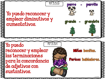 """Common Core """"I Can"""" Language Arts Posters in Spanish for 3rd Grade - Red"""