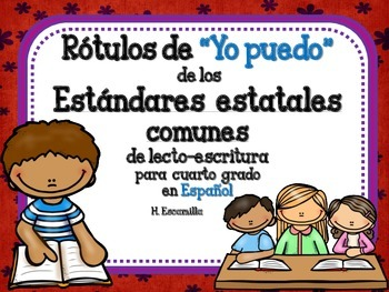 "Common Core ""I Can"" Language Arts Posters in Spanish for 4th Grade - Blue"