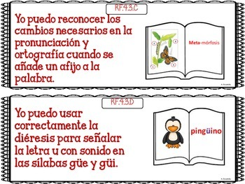 """Common Core """"I Can"""" Language Arts Posters in Spanish for 4th Grade - Red"""