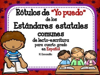 """Common Core """"I Can"""" Language Arts Posters in Spanish for 4"""