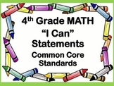 """Common Core """"I Can"""" Math Posters - 4th Grade"""