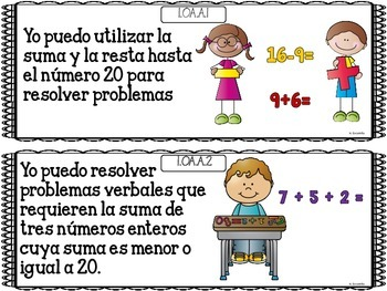 "Common Core ""I Can"" Math Posters in Spanish for 1st Grade"
