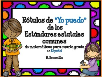 """Common Core """"I Can"""" Math Posters in Spanish for 4th Grade"""