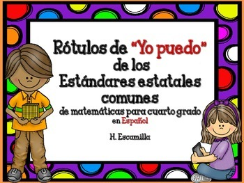"Common Core ""I Can"" Math Posters in Spanish for 4th Grade - Red"